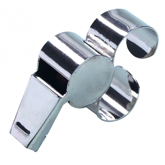 Referee whistle with metal finger grip